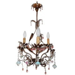 French Pink Drops and Flowers Beaded Tole Chandelier, circa 1940