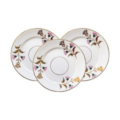 French Pink Green and Gold Ceramic Saucers, Set of 3
