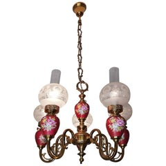 French Pink Hand Painted Porcelain Gilt Brass & Etched Glass Oil Lamp Chandelier