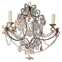 French Pink Maison Baguès Style Crystal Flower Chandelier, circa 1920