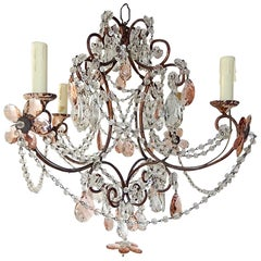 French Pink Maison Baguès Style Crystal Flower Chandelier