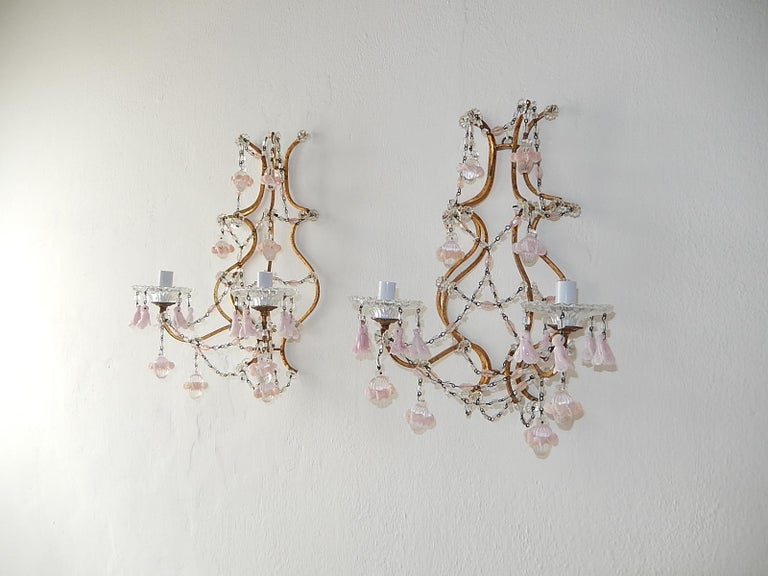 French Pink Opaline Drops with Beads and Crystal Sconces For Sale 6