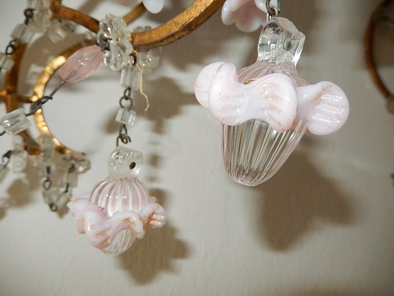 French Pink Opaline Drops with Beads and Crystal Sconces For Sale 7