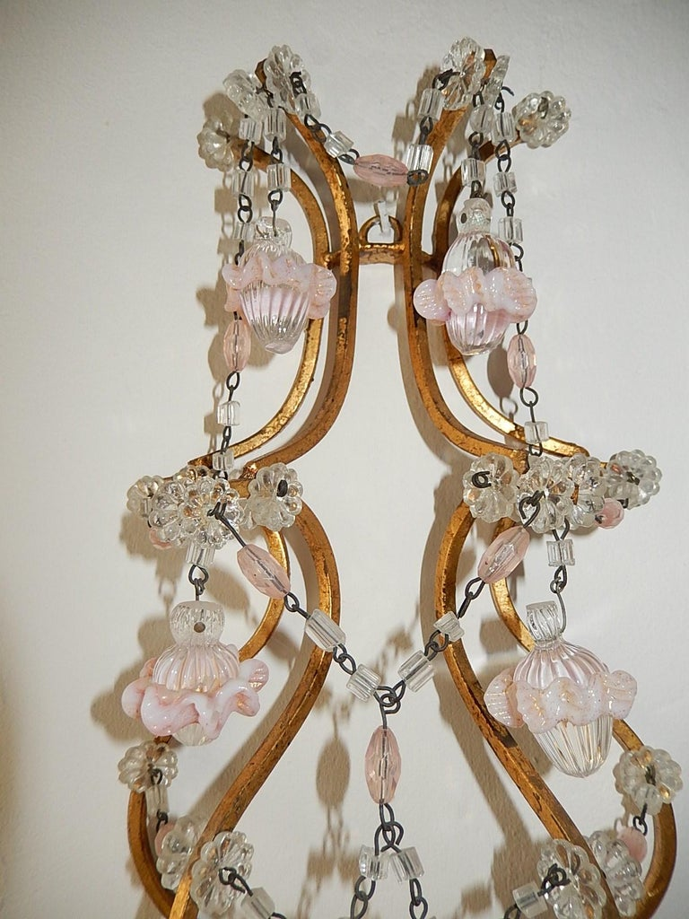 Early 20th Century French Pink Opaline Drops with Beads and Crystal Sconces For Sale