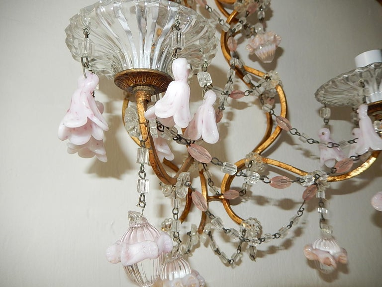 French Pink Opaline Drops with Beads and Crystal Sconces For Sale 1