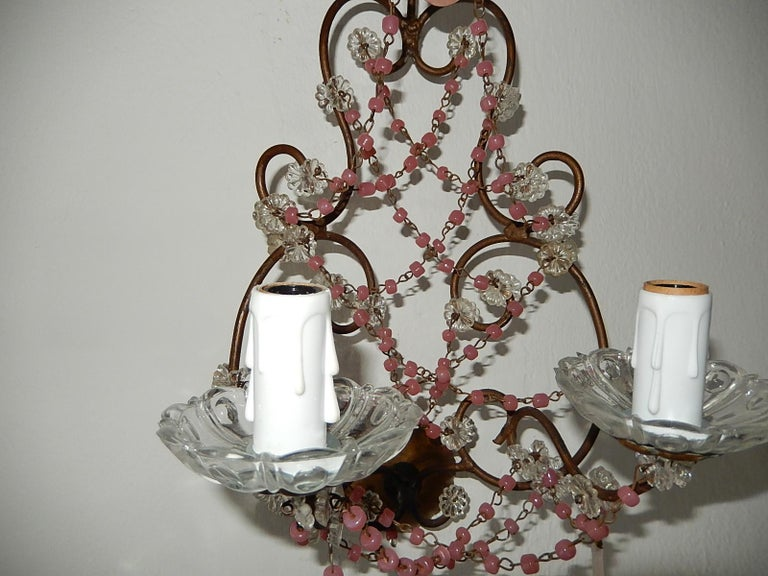 French Pink Opaline Drops with Beads and Crystal Sconces For Sale 2