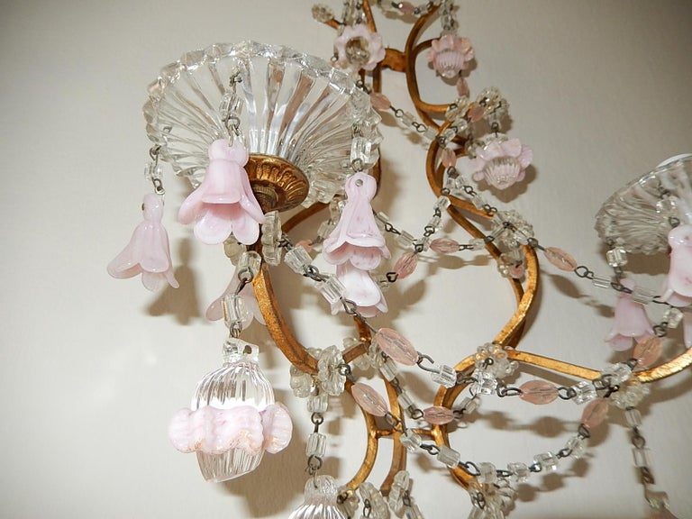 French Pink Opaline Drops with Beads and Crystal Sconces For Sale 3