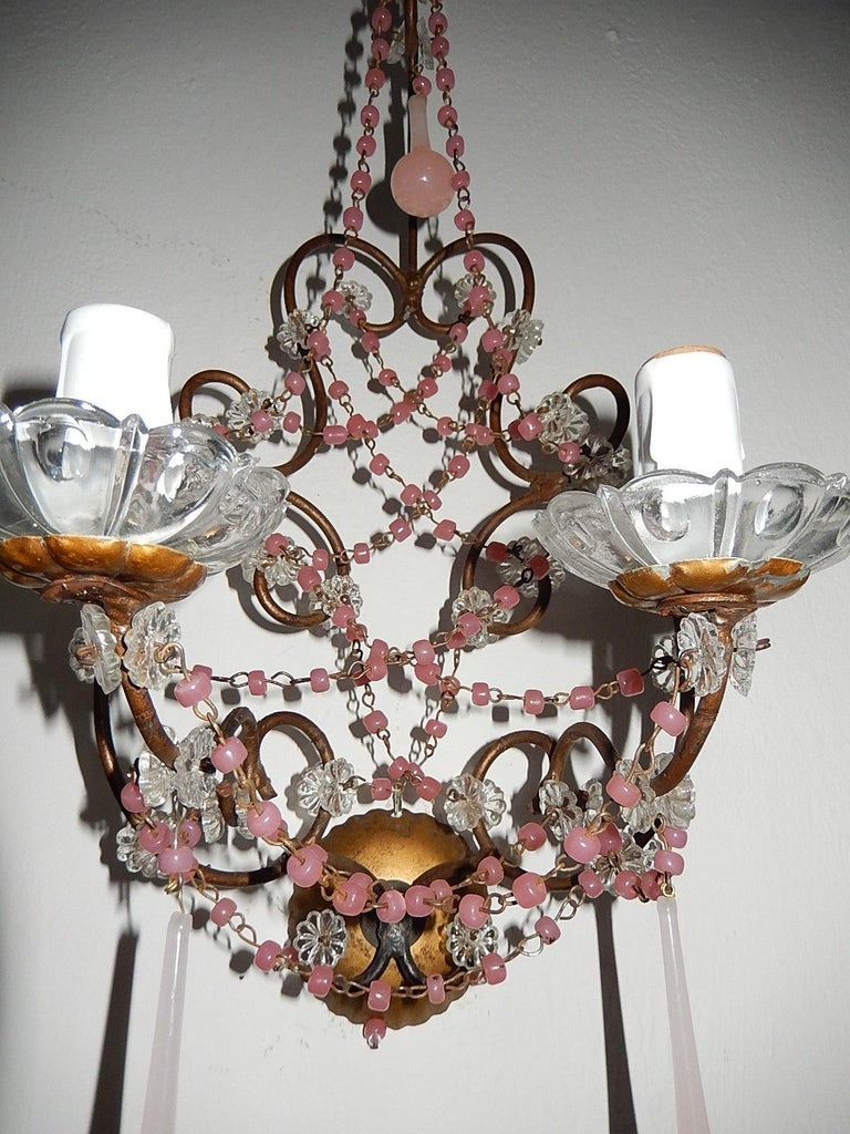 French Pink Opaline Drops with Beads and Crystal Sconces For Sale 4