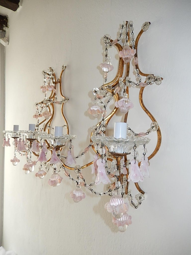 French Pink Opaline Drops with Beads and Crystal Sconces For Sale 5