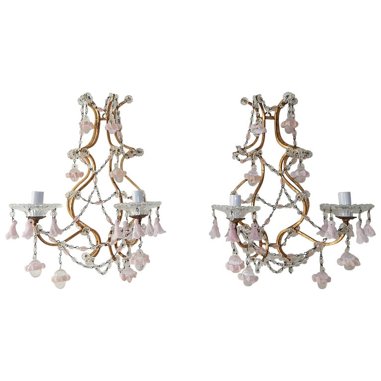 French Pink Opaline Drops with Beads and Crystal Sconces For Sale