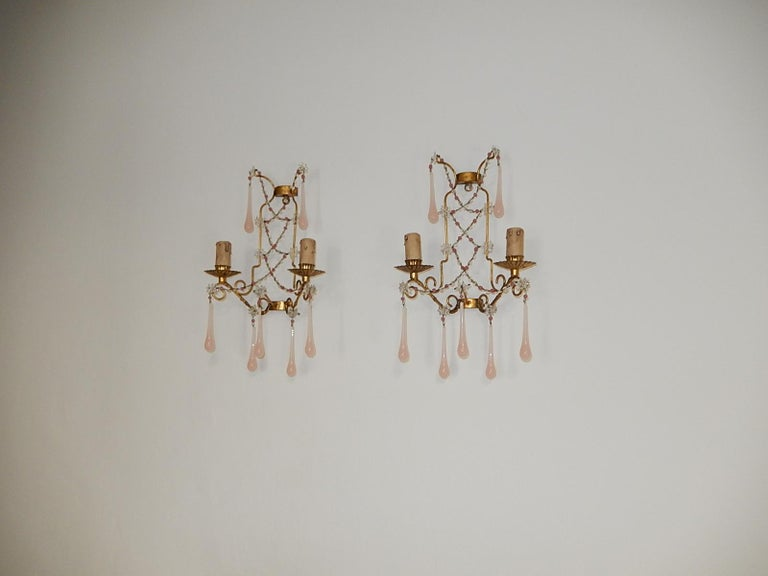 French Pink Opaline Drops with Beads and Star Crystal Sconces, 1920s For Sale 7