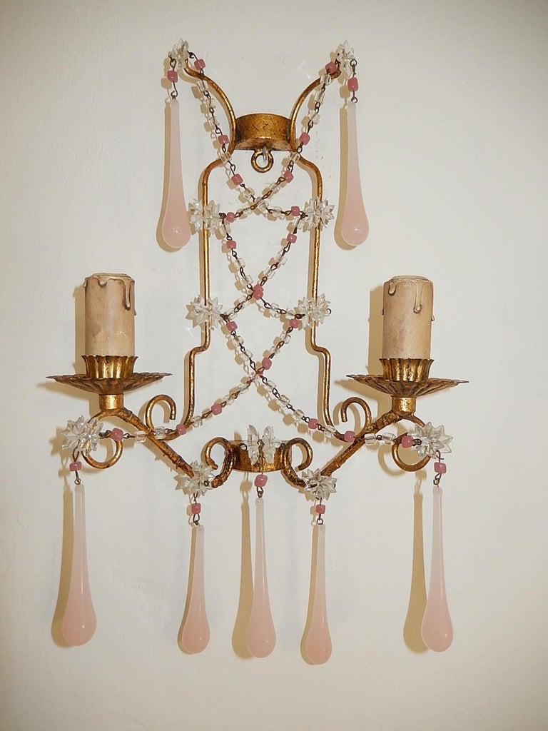French Pink Opaline Drops with Beads and Star Crystal Sconces, 1920s For Sale 2