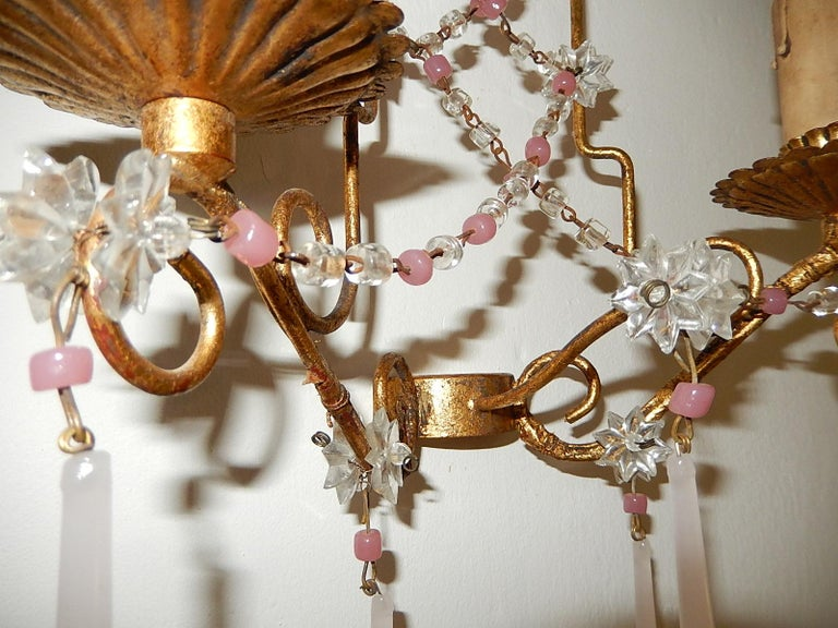 French Pink Opaline Drops with Beads and Star Crystal Sconces, 1920s For Sale 3