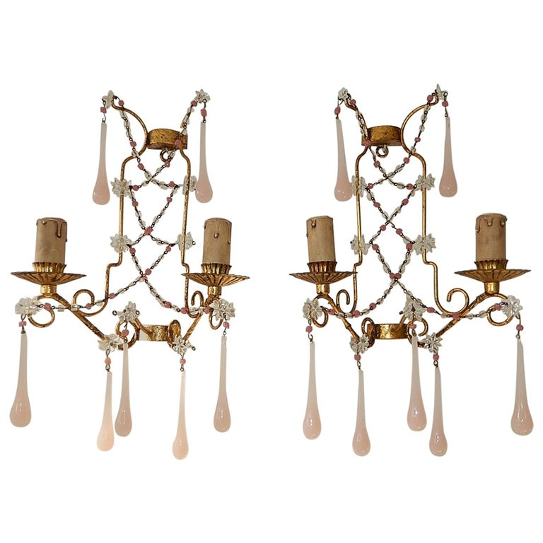 French Pink Opaline Drops with Beads and Star Crystal Sconces, 1920s For Sale