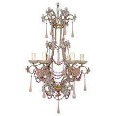 French Pink Opaline Murano Drops Bobeches and Beads Beaded Chandelier
