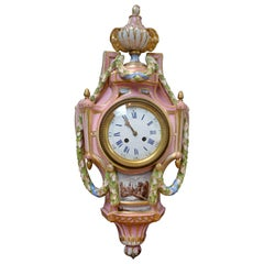 French Pink Porcelain Cartel Clock Likely Made by Samson and Cie