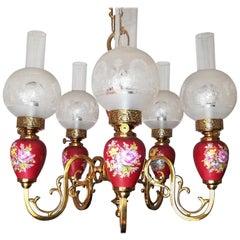 French Pink Porcelain Chandelier Gilt Brass Etched Glass 5Light Hanging Oil Lamp