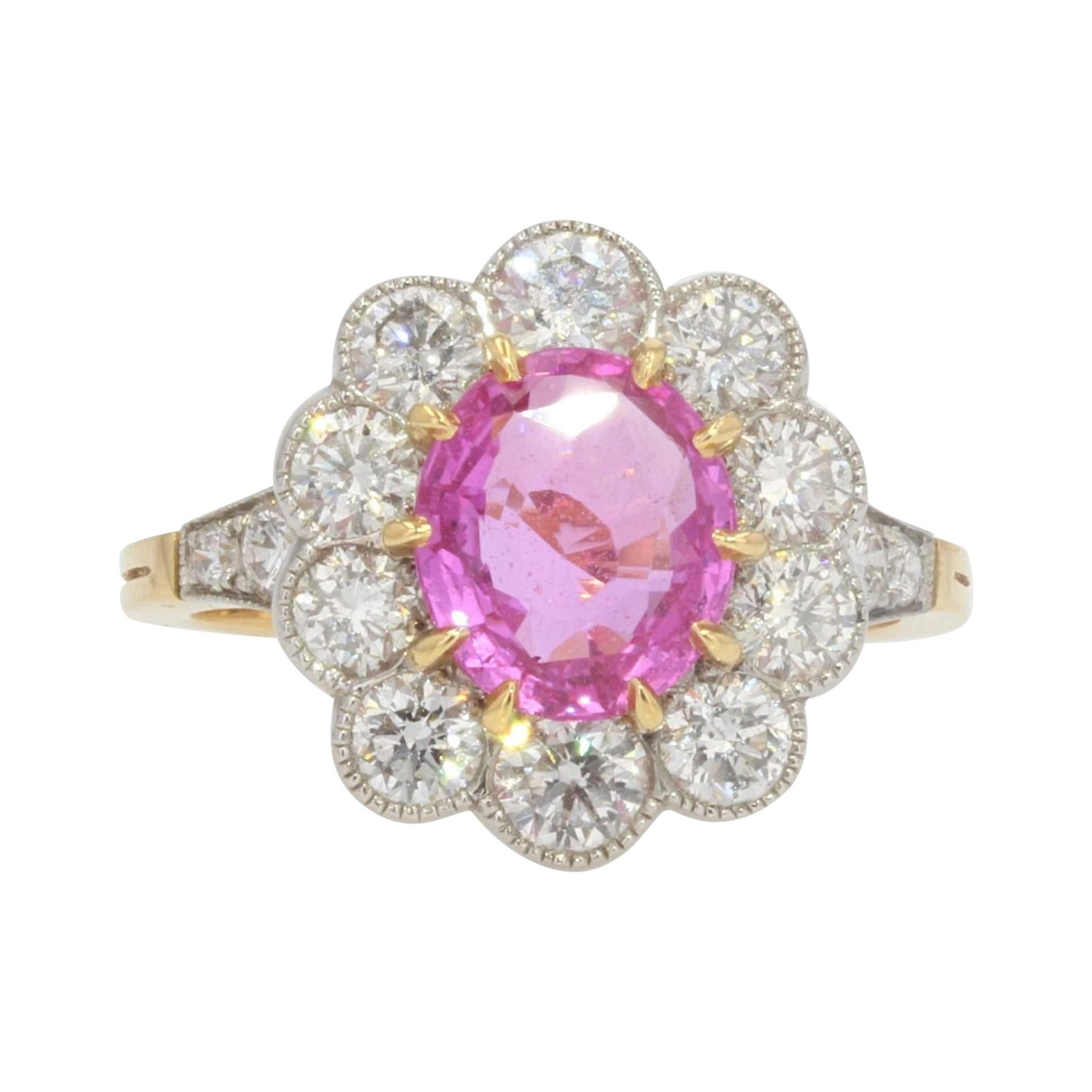 French Pink Sapphire Diamonds 18 Karat Yellow Gold Platinum Daisy Ring