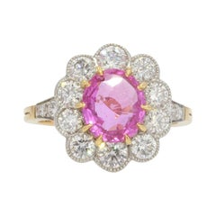 French Pink Sapphire Diamonds 18 Karat Yellow Gold Platinum Daisy Ring