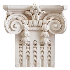 French Plaster Architectural Ionic Capital Element, circa 1960