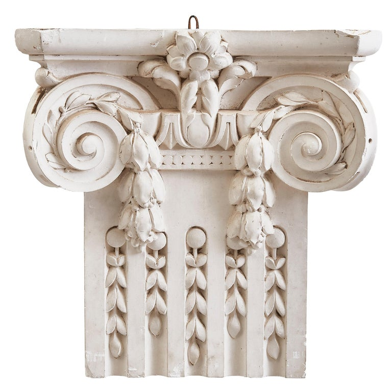 French Plaster Architectural Ionic Capital Element, circa 1960 For Sale