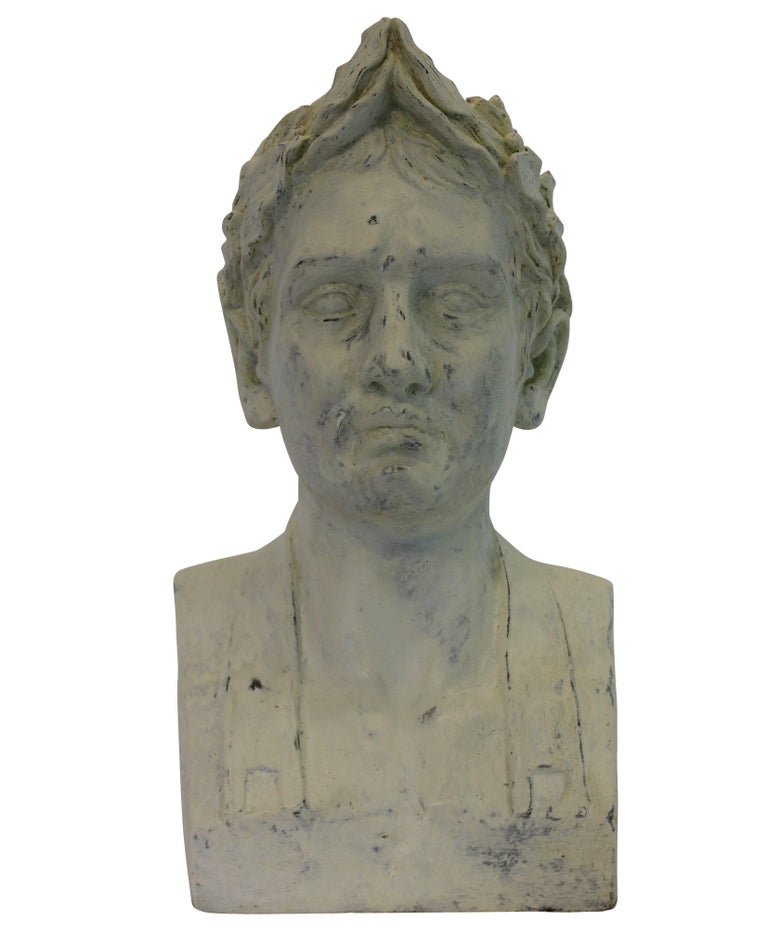 A French painted plaster head of Napoleon as Emperor.