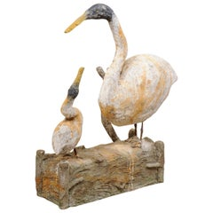 French Plaster Statue of Goose with Her Gooseling on Faux Bois Log