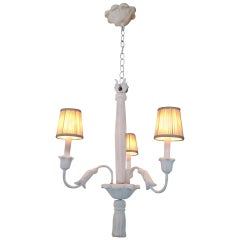 French Plaster Three-Arm Chandelier in the Style of Serge Roche