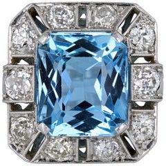 French Platinum Aquamarine Diamond Cocktail Ring