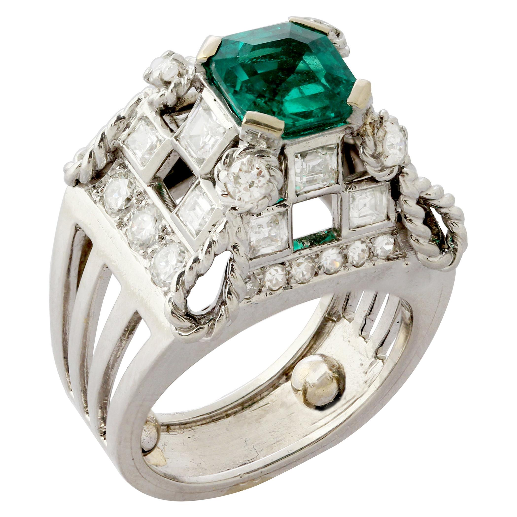 French Platinum, Diamond & Colombian Emerald Ring