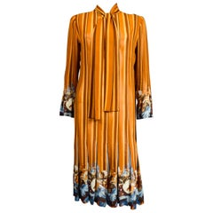 French Pleated Printed Silk Crepe Dress Circa 1970
