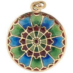 French Plique a Jour Antique Deco 18 K Gold Pendant Disc Vintage Fine Jewelry