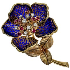 French Plique a Jour en Tremblant Flower Brooch with Diamond and Ruby Center