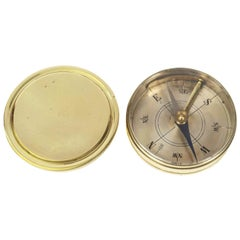 French Small Magnetic Antique Pocket Compass Brass Made in the Early 1900s