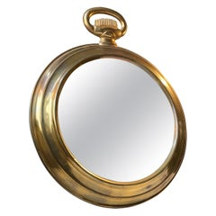 French Pocket Watch Wall Mirror in Brass, 1950s
