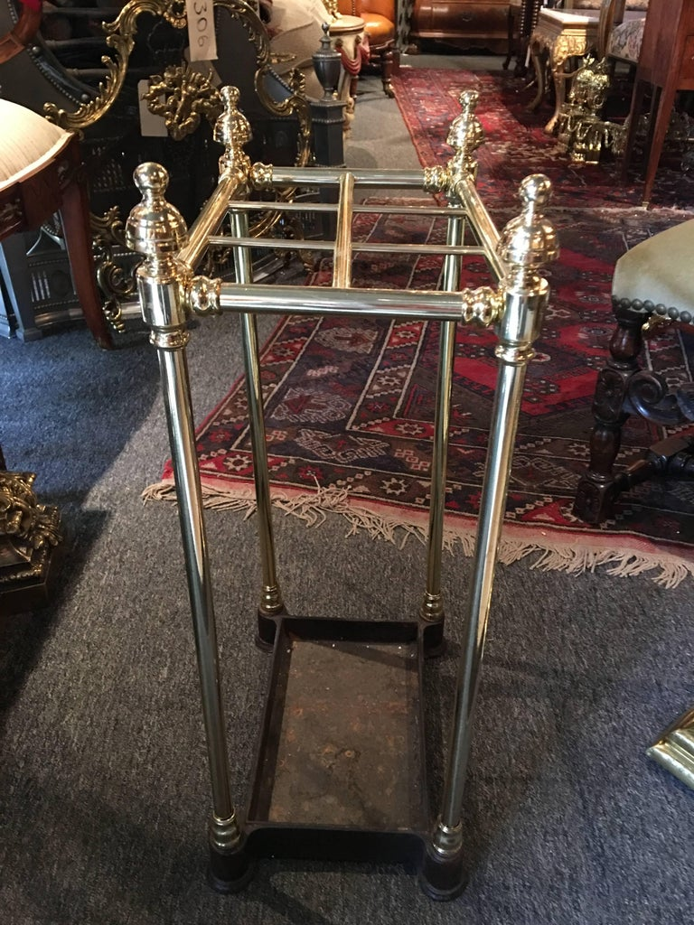 French Polished Brass and Iron Umbrella Stand, 19th Century For Sale 3