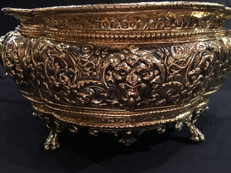 French Polished Brass Jardiniere or Planter on Paw Feet, 19th Century In Excellent Condition For Sale In Savannah, GA