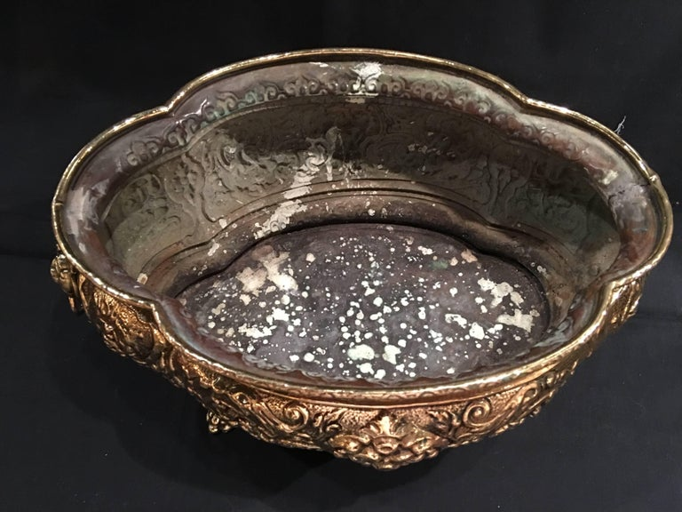 French Polished Brass Jardiniere or Planter on Paw Feet, 19th Century For Sale 1
