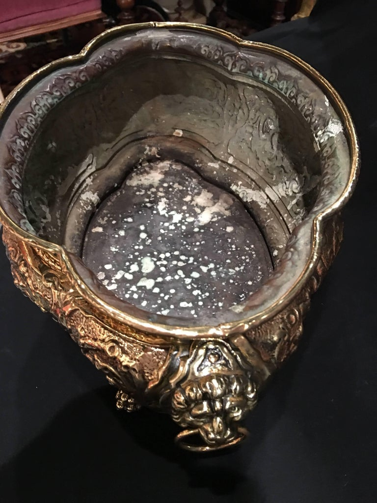 French Polished Brass Jardiniere or Planter on Paw Feet, 19th Century For Sale 2