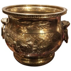 French Polished Brass Jardinière or Planter with Handles, 19th Century