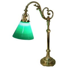 French Polished Bronze Green Glass Shade Table or Desk Lamp