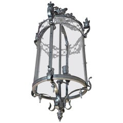 French Polished Chrome Circular Lantern with Four Center Lights and Glass Sides