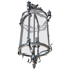 French Polished Chrome Circular Lantern with 4 Center Lights and Glass Sides