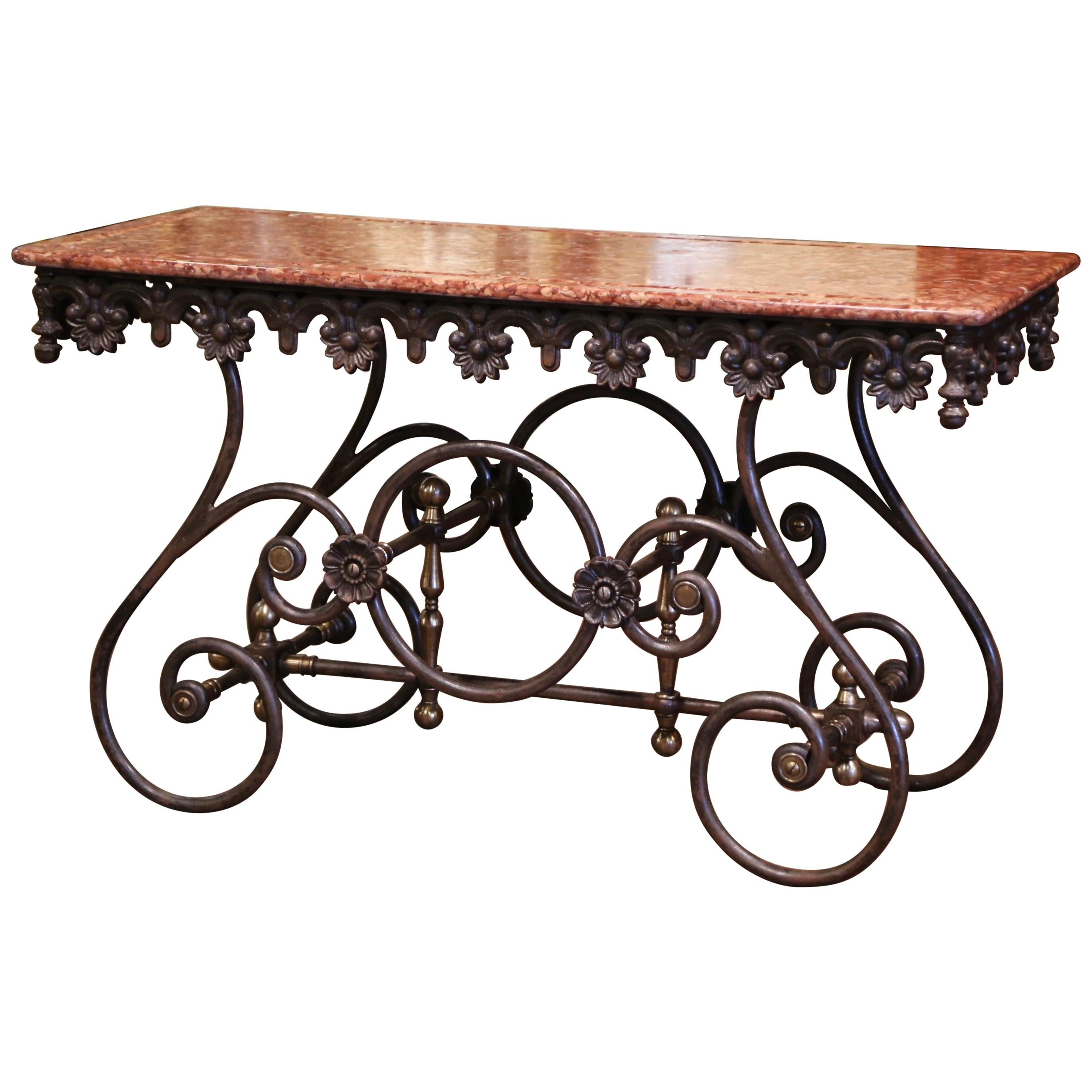 French Polished Iron and Brass Pastry Table with Variegated Red Marble Top