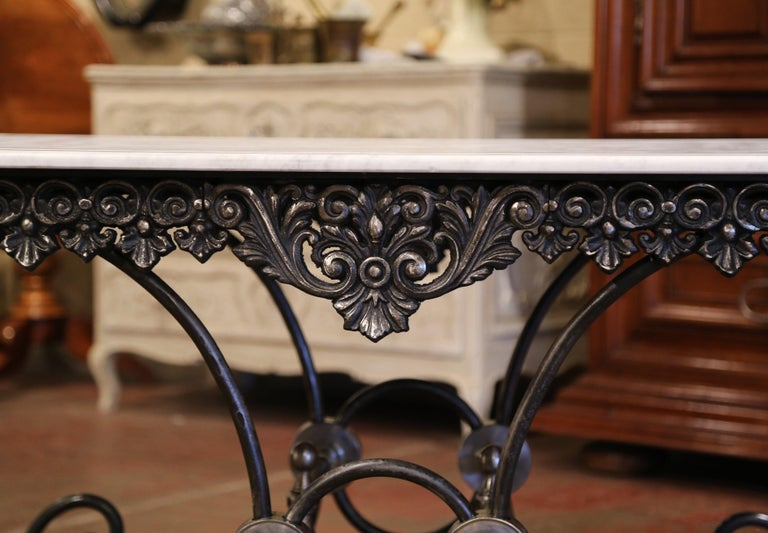 French Polished Iron Butcher or Pastry Table with White Marble Top For Sale 1
