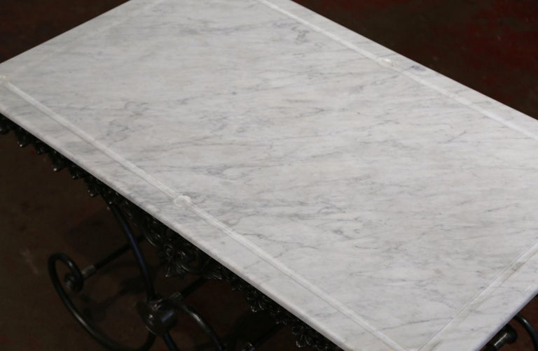 French Polished Iron Butcher or Pastry Table with White Marble Top For Sale 2