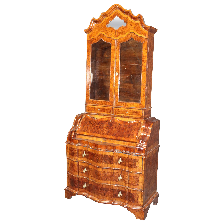 French-Polished Italian Rococo Walnut Secretary Desk Bookcase, circa 1840