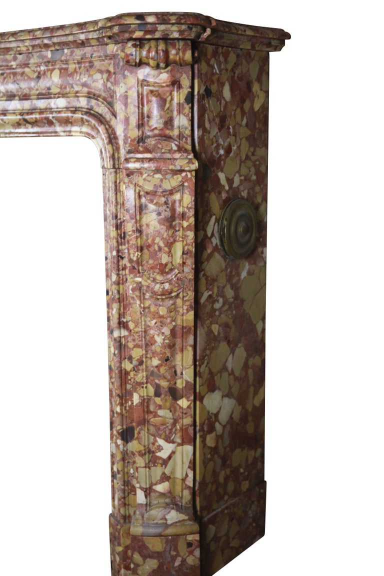 French Pompadour Antique Fireplace Surround in Breche d'aleppe Marble For Sale 4
