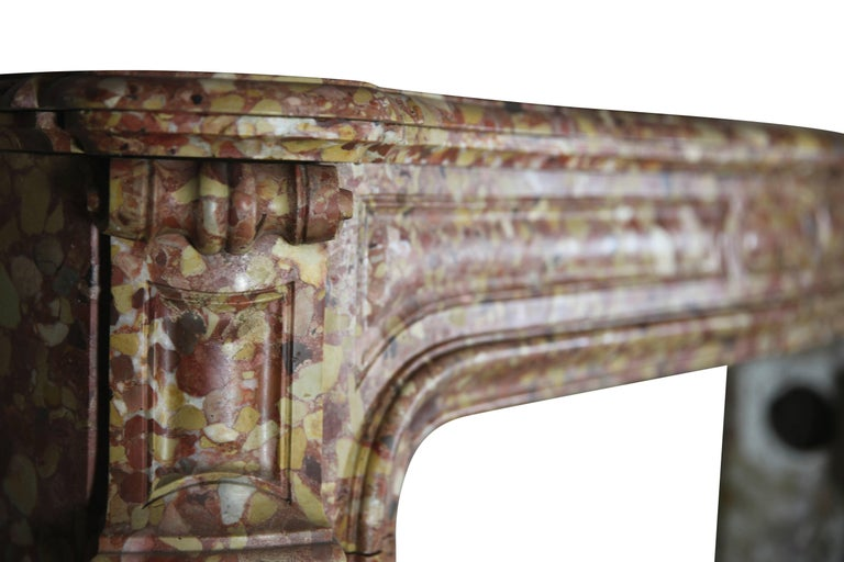 Other French Pompadour Antique Fireplace Surround in Breche d'aleppe Marble For Sale