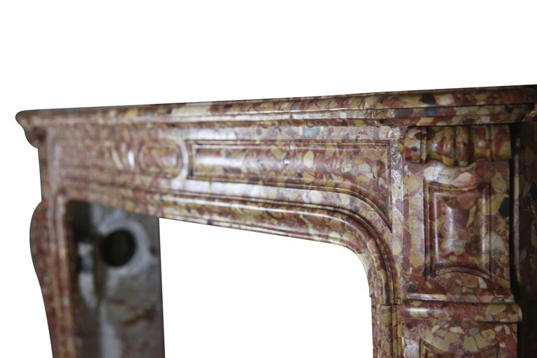 Carved French Pompadour Antique Fireplace Surround in Breche d'aleppe Marble For Sale
